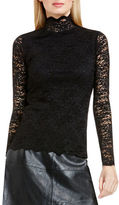 Vince Camuto Petite Long Sleeve Mockneck Scallop Lace Top