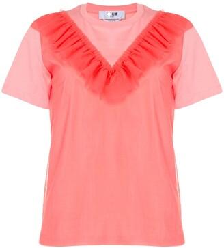 MSGM ruffle-trim cotton T-shirt