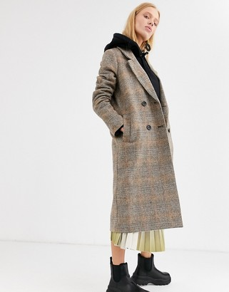Monki check tailored coat in brown