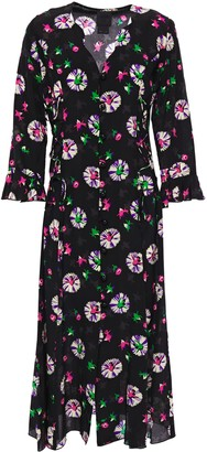 Anna Sui Floral-print Silk Crepe De Chine Midi Dress