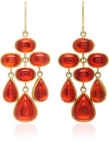 Mallary Marks Trapeze 18K Gold Cabochon Fire Opal Earrings