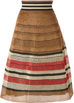 RED Valentino knitted midi skirt - women - Cotton/Viscose/Straw - M