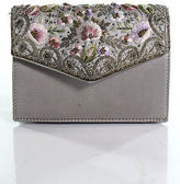 Blumarine Silver Satin Embroidery Detail Belt Bag Size Small