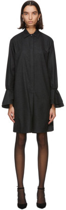 Max Mara Grey Wool Segovia Flannel Shirt Dress