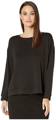 Eileen Fisher Tencel Stretch Terry Round Neck Box-Top (Black) Women's Clothing