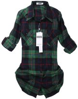 OCHENTA Women's Mid Long Style Roll Up Sleeve Plaid Flannel Shirt Label 3XL - US L