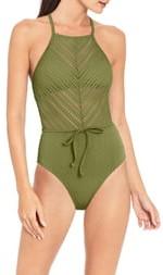 Robin Piccone Perla High Neck One-Piece Swimsuit