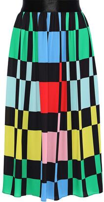 Alice + Olivia Melda Checked Crepe De Chine Midi Skirt