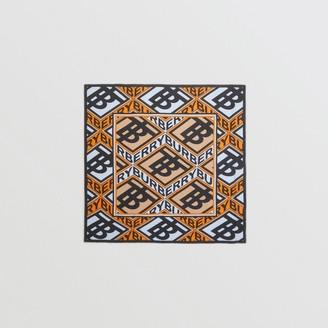 Burberry Logo Graphic Print Cotton Silk Large Square Scarf
