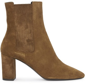 Saint Laurent Mica 75 brown suede ankle boots