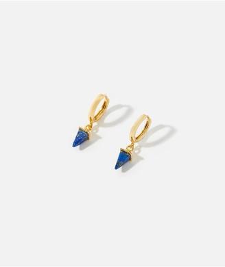 Accessorize Z Healing Stone Pyramid Hoop Earring - Gold