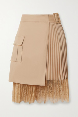 Self-Portrait Lace-paneled Pleated Crepe De Chine And Cotton-canvas Wrap Mini Skirt - Beige