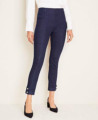 Ann Taylor Petite Pearlized Button Hem Skinny Jeans in Dark Rinse Wash