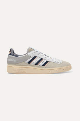 adidas Handball Top Grosgrain-trimmed Suede And Leather Sneakers - Gray