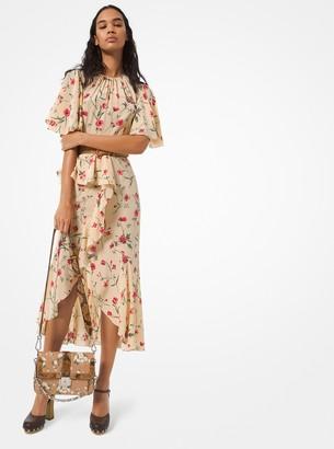 Michael Kors Floral Silk Crepe De Chine Cascade Ruffle Dress