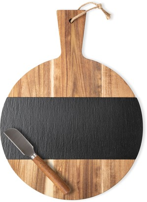Cathy's Concepts Monogram Slate & Acacia Wood Serving Board & Cheese Knife