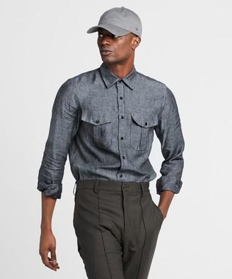 Todd Snyder Italian Two Pocket Linen Safari Long Sleeve Shirt in Navy