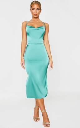 Pure Green Satin Strappy Back Midi Dress