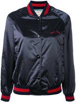 MAISON KITSUNÉ embroidered satin bomber jacket - women - Polyamide/Acetate/Viscose - S