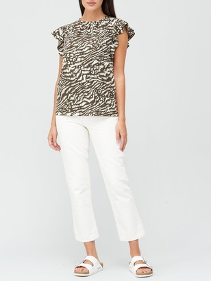 Very Round Neck Short Sleeved Shell Top - Animal Print