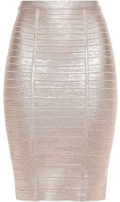 Herve Leger Kaitlin Metallic Bandage Pencil Skirt