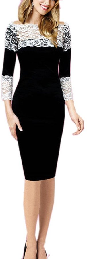 FORTRIC Women 3/4 Sleeve Stitching Lace Bridesmaid Casual Party Pencil Dress M