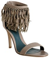 Sergio Rossi grey leather fringed ankle sandals