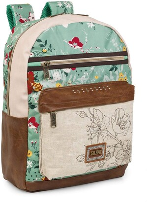 """BEIGE SKPAT - School Padded Backpack with 15"""" Laptop Compartment. Adaptable to The Trolley. Adjustable Padded Straps Very Comfortable and Lightweight Youthful Design. Resistant. 301604 Color"""
