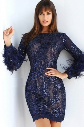 Jovani Long Sleeve Embellished Cocktail Dress