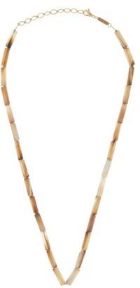 Azlee Agate & 18kt Gold Beaded Necklace - White Multi
