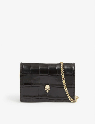 Alexander McQueen Crocodile-embossed leather wallet with gold-tone chain