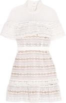 Self-Portrait Ruffled Guipure Lace Mini Dress - White