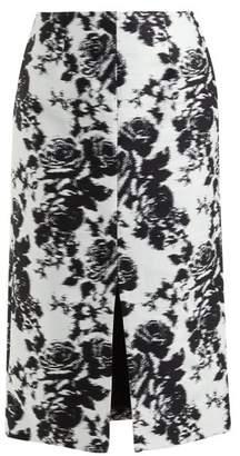 Erdem Rhetta Rosechine-jacquard Pencil Skirt - Womens - Black White