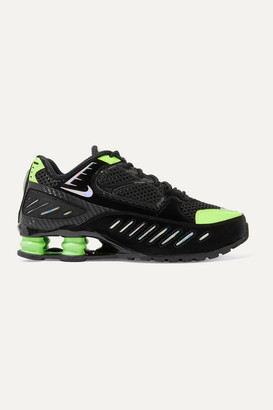 Nike Shox Enigma Mesh And Iridescent Faux Leather Sneakers - Black