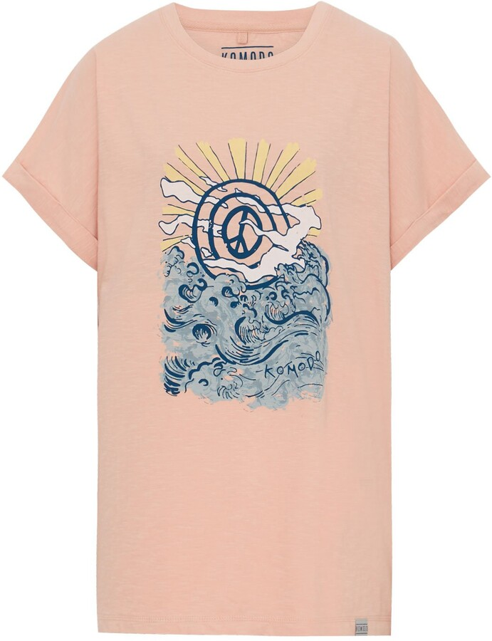Thumbnail for your product : Komodo Sunrise Peace Wave - Gots Organic Cotton Tee Peach