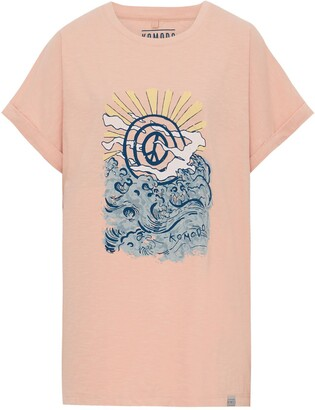 Komodo Sunrise Peace Wave - Gots Organic Cotton Tee Peach