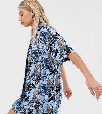Monki oversized two-piece blouse in blue jungle print