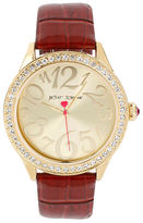 Betsey Johnson Gold Case Set in Crystal and Red Strap Watch