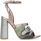 Antonio Marras snakeskin effect detail sandals - women - Leather/Cotton - 36
