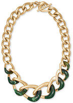 "Michael Kors 17"" Gold-Tone Colorblocked Chain Collar Necklace"