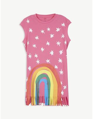 Stella McCartney Rainbow fringe cotton T-shirt dress 4-14 years