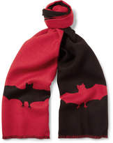 Gucci Two-Tone Bat-Patterned Wool-Jacquard Scarf
