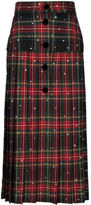 Miu Miu Pleated Tartan Midi Skirt