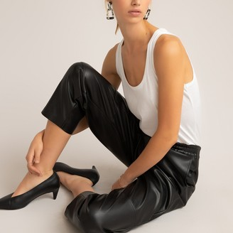 La Redoute Collections Faux Leather Joggers, Length 26.5""