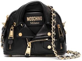 Moschino Biker Jacket-Style Leather Crossbody Bag