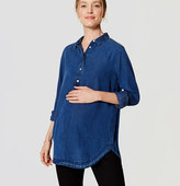 LOFT Maternity Chambray Henley Tunic Softened Shirt