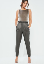 Missguided Grey Pocket Detail Paperbag Waist Belted Trousers