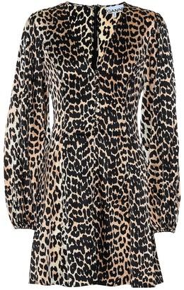 Ganni Leopard-printed silk minidress
