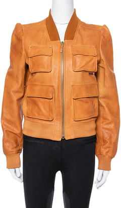 Gucci Tan Leather Floral Printed Cropped Bomber Jacket M