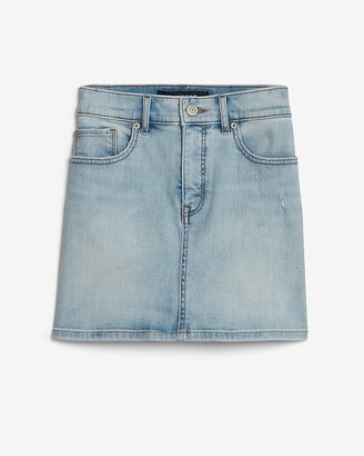 Express High Waisted Straight Mini Jean Skirt